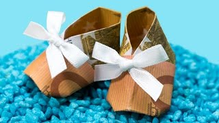 Origami Money Booties ❤️ How to make paper money shoes ❤️ DIY Baby Shower Gift Idea