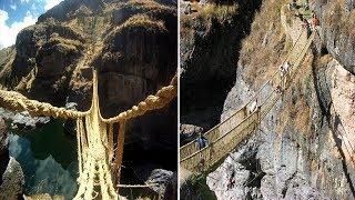 जंगली घास से बना ये पुल है दुनिया का सबसे खतरनाक रोप ब्रिज