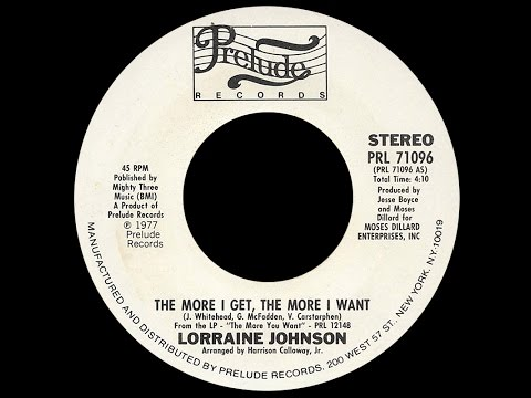 Lorraine Johnson ~ The More I Get The More I Want 1977 Disco Purrfection Version