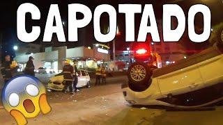 GRAVEI UM ACIDENTE DE CARRO!! O CARRO CAPOTOU!!!
