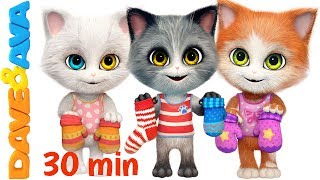 😽 Three Little Kittens in New Nursery Rhymes Collection | Kids Songs from Dave and Ava 😽