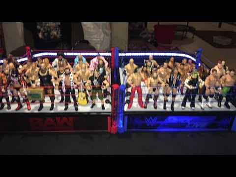 WWE 40 man Battle Royal Raw vs Smackdown Live 2 ring mayhem