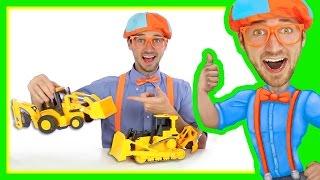 Backhoe Bulldozer for Kids - Construction Toys with Blippi   Learn Letters