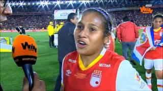 Leicy Santos, jugadora de Santa Fe, tras el título de la Liga Femenina Aguila   Win Sports
