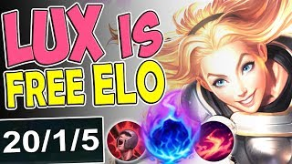 NEW RUNES LUX IS FREE ELO | MID LANE BUILD | MOST BROKEN | LUX MID SEASON 8 RANKED League of Legends