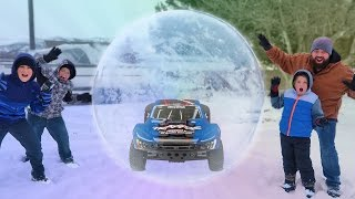 RC Car Stuck In Our Giant Balloon Stunts! Giant Bubble Ball Snow Globe!