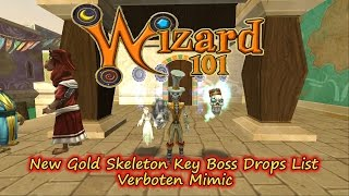 Wizard101 2017 Spring Test Realm Verboten Mimic  Gold Skeleton Key BossDrops List