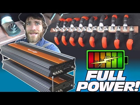 10 000 Watt CAR AUDIO Installation w TheAmpLab LITHIUM Battery Install & STACKING UP 12v Bass Amps
