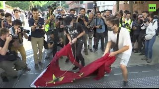 Hong Kong protesters desecrate China flag & ransack Sha Tin shopping mall