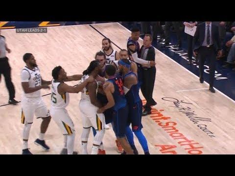 OKC Thunder vs Utah Jazz All 11 fight brawl scenes ugliest game in years
