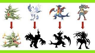 Pokemon Mega As Monsters - Mega Garchomp, Mega Absol, Mega Lucario, Mega Tyranitar.