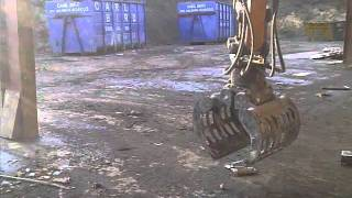 picking up egg with case cx80 excavator and grab