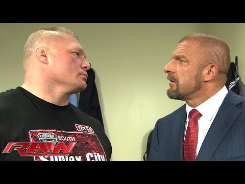 Brock Lesnar and Triple H cross paths in a tense backstage encounter Raw February 1 2016