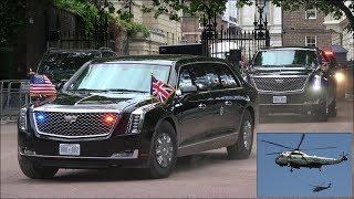President Trump Security Motorcade Escorted By Metropolitan Police