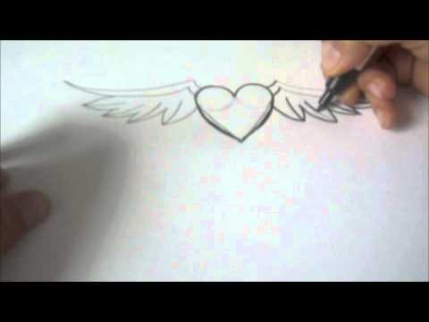 wie zeichnet man ein Herz mit Flügeln