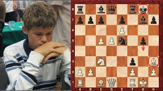 Magnus Carlsen's amazing double bishop sacrifice Mikhail Tal like chess game at the age of 12!