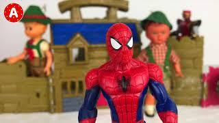 Super-Héros SpiderMan Sauve Petite Fille - on Joue avec Jouets Super-Héros et Voitures pour Enfants