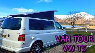 SEE INSIDE OUR VAN!  Sleeps family of 4, VAN TOUR VW T5 Campervan and Vango Cruz Awning