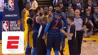 Carmelo Anthony And Kevin Durant Get In Each Others Grills During Thunderwarriors  Espn