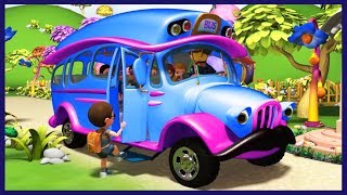 The Wheels on the Bus | Blue Wheels on the Bus | Nursery Rhymes for Children | KidRhymes