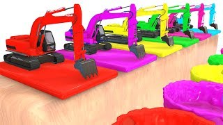 Colors For Children and Fun Excavator 3D Cars Superheroes for Kids w Learning Colors