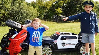 The car stealer, the chase and the capture silly funny youtube kids video with ryan
