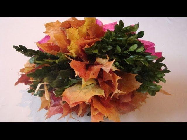 Blumenstrauß selber binden Floristik Anleitung Herbstlaubstrauß