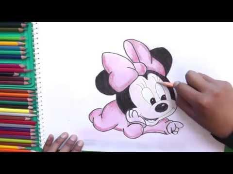 Dibujando y pintando Bebe Minnie (Mickey Mouse) - Minnie Baby ...