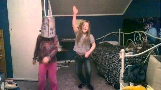 Mim and Mika dancing to We are the champions crazy frog version