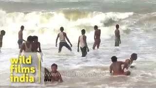 Waves of the Bay of Bengal hit Puri Beach, Orissa