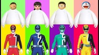 Wrong Heads Wrong Dress Doraemon Superheroes Power Rangers Cartoon Finger Family Nursery Rhymes Song