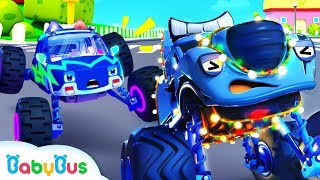 Police Truck Chases Bad Guy | Police Cartoon | Nursery Rhymes | Kids Songs | Color Song | BabyBus
