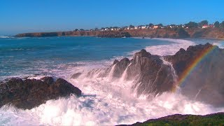 ♥♥ The Best Ocean Waves Crashing Video with Sea Mist Rainbow, 3 hrs