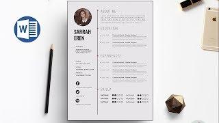 Clean CV Template Design in Microsoft Word +Docx file