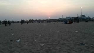 Beautiful sunset scene in chennai merina beach