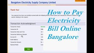 How to Pay Electricity Bill Online Bangalore