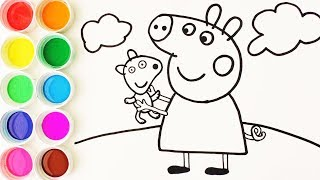 Como Dibujar y Colorear a Peppa Pig y su Osito Teddy - Colores Para Niños - Learn Colors / FunKeep