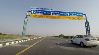 Driving On Agra-Lucknow Expressway 4K - Uttar Pradesh, India