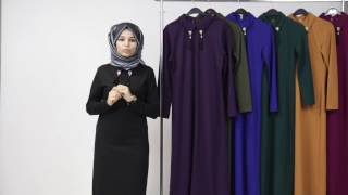 Tesettür Elbise - Broşlu Boydan Elbise
