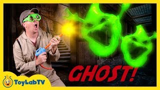 GHOSTS IN HAUNTED HOUSE KIDS ADVENTURE, Fidget Spinner Bad Ghost Hunt, Blaster Toys Fun Family Video
