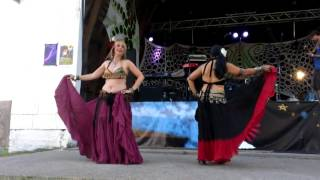 Candi and Mithra belly dance w/ skirt at Camp Kind 2013