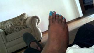 My fiancee' pretty blue toes