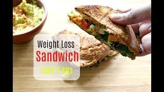 Lose 2 kgs In A Week - Weight Loss Veg Sandwich - Healthy Indian Breakfast Ideas/Recipes