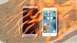 🔴 Apple iPhone 6S vs Samsung Galaxy S7 Edge FIRE Test! Don't drop your iPhone 6s or Galaxy in FIRE!