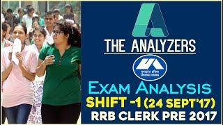 The Analyzers - Exam Analysis Of IBPS RRB CLERK PRE 2017 (Shift -1)  24th September 2017