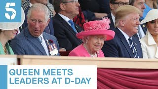 Queen greets Donald Trump and other world leaders at D-Day event   5 News
