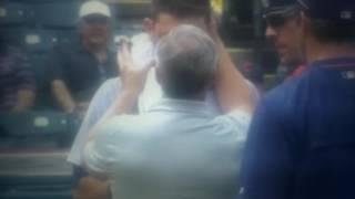 Ian Kinsler gets hit on the helmet