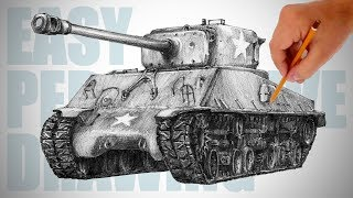 How to draw a tank ( Sherman ) - Easy Perspective Drawing 30