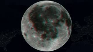 Moon,Lune,Anaglyph 3D rotation