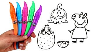 Drawing and Painting with QOLOR Paint & Surprise Toys Peppa Pig Chupa Chups MLP On Nom Surprise Eggs